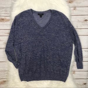 J. Crew Marled Linen V-Neck Sweater Medium Z0693